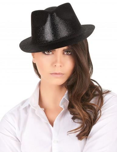 Glitzer Party Hut schwarz für Erwachsene-1