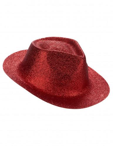 Glitzer Party Hut rot für Erwachsene