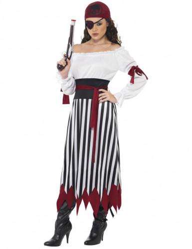 Piratin Kostüm gestreift für Damen