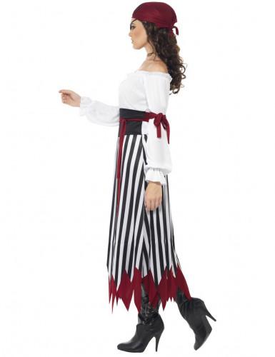 Piratin Kostüm gestreift für Damen-1