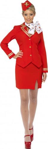 Rote Stewardess Kostüm  für Damen