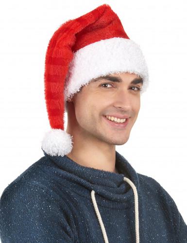 Weihnachtsmann Mütze gestreift für Erwachsene-1