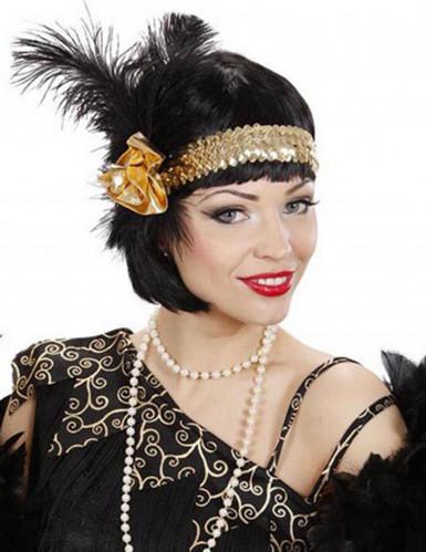 Charleston Stirnband mit Pailletten und Federn für Damen