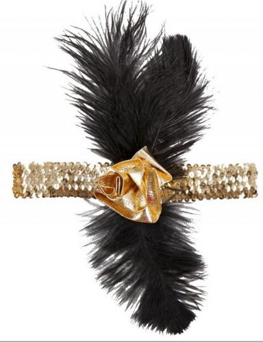 Charleston Stirnband mit Pailletten und Federn für Damen-1