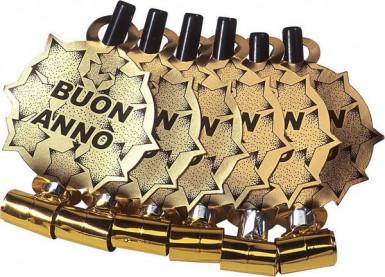 6 goldene Luftrüssel Neues Jahr