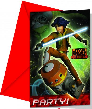 6 Einladungskarten Star Wars Rebels™