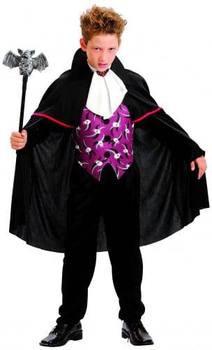Vampir-Kostüm mit Umhang für Jungen schwarz-weiß-lila