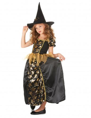 Hexenkostüm für Mädchen mit Totenköpfen schwarz-goldfarben-1
