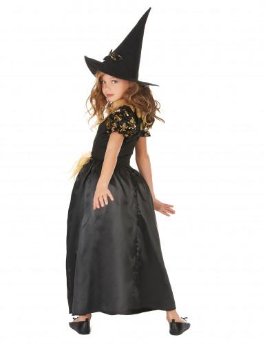 Hexenkostüm für Mädchen mit Totenköpfen schwarz-goldfarben-2