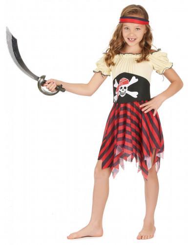 Piratinnenkostüm für Mädchen schwarz-rot-beige-1