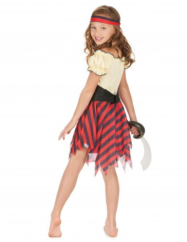 Piratinnenkostüm für Mädchen schwarz-rot-beige-2