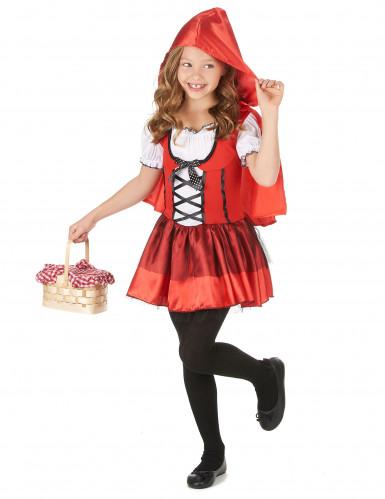 Rotkäppchen-Mädchenkostüm für Fasching schwarz-weiss-rot-1