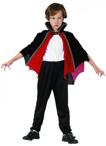 Rot und schwarzer Vampir Umhang für Kinder