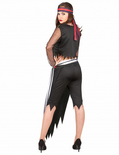 Piratenkostüm für Frauen mit Totenkopf-Rock schwarz-weiss-rot-2