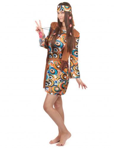 Hippie-Kostüm 60er Jahre für Damen bunt-1