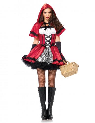 Rotkäppchen Märchenkostüm für Damen schwarz-weiss-rot