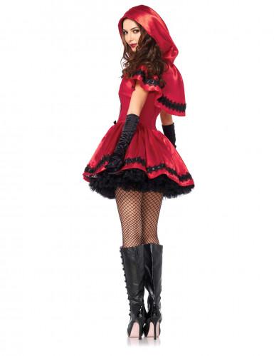 Rotkäppchen Märchenkostüm für Damen schwarz-weiss-rot-1