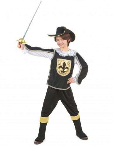 Schwarz - goldenes Musketier Kostüm für Jungen