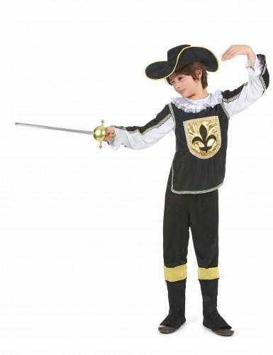 Schwarz - goldenes Musketier Kostüm für Jungen-1