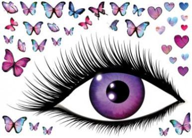 Wandaufkleber mit Grosse -Augen- Motiv und Schmetterlingen