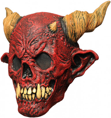Rote Totenkopf-Maske mit Hörnern