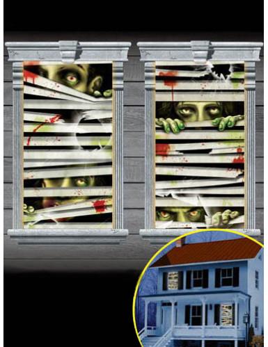 2 Zombie Fenster-Dekorationen