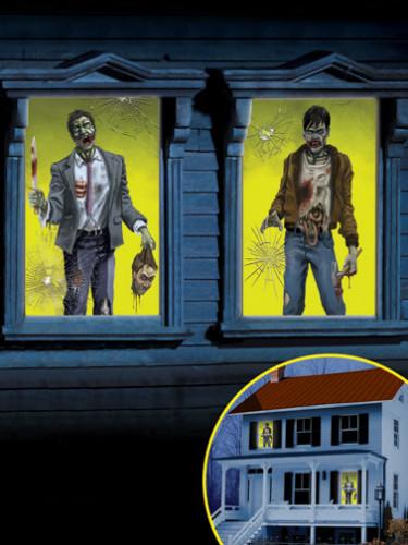2 Zombie Fensterdekorationen