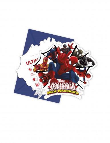 6 Spiderman Web Warriors™ Einladungskarten mit Umschlag