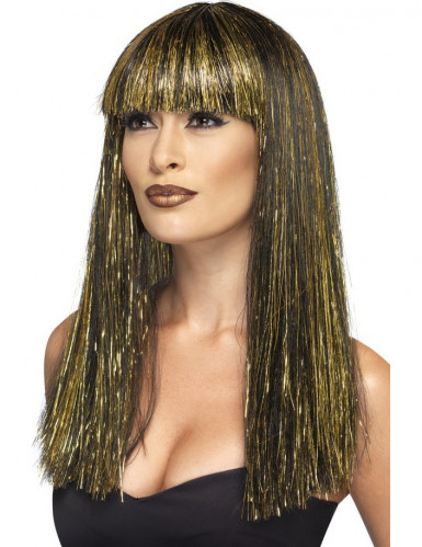 Gold-schwarze Langhaar Perücke für Damen