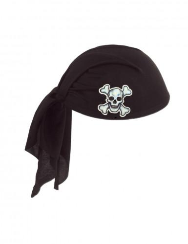Piraten Kopftuch schwarz für Erwachsene