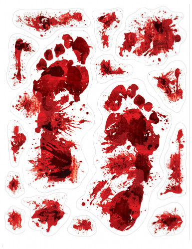15 Halloween Aufkleber bedruckt mit blutigen Fußspuren