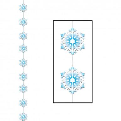 Schneeflocken Hängedeko für Weihnachten blau-weiss