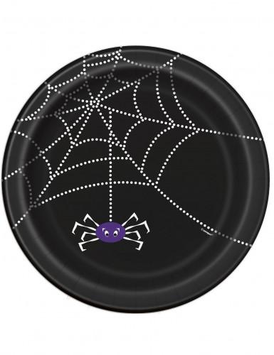 8 Pappkartons mit Spinnweben-Design Halloween 23 cm