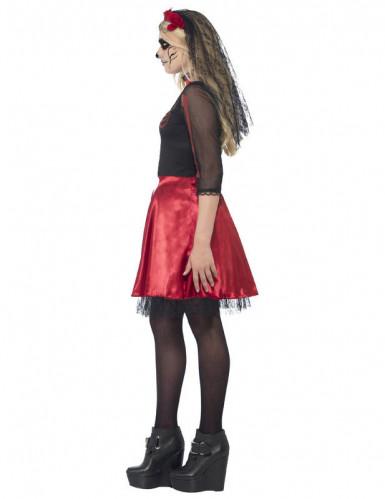 Rotes Skelett Kostüm für junge Erwachsene - Halloween-1