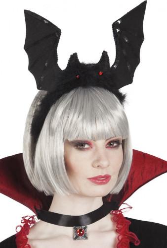 Schwarzer Fledermaus Haarreif für Erwachsene Halloween