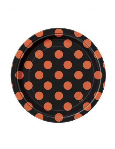 8 kleine Pappteller schwarz mit orangen Punkten