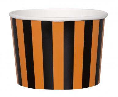 8 Halloween Schalen aus Papier mit Streifen in Schwarz und Orange