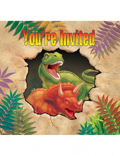 8 Geburtstags-Einladungskarten Dinosaurier