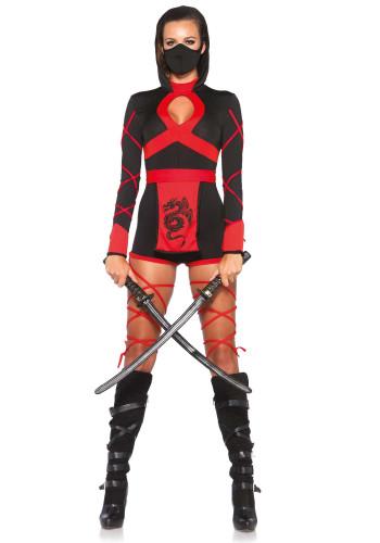 Ninja-Kostüm für Damen schwarz-rot