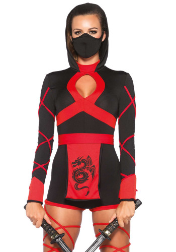 Ninja-Kostüm für Damen schwarz-rot-1