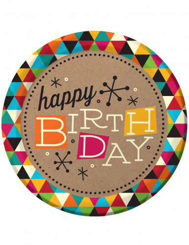 8 Teller Happy Birthday 23 cm bunt mit Rauten