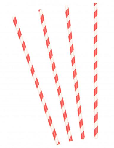 10 Strohhalme mit roten und weißen Streifen