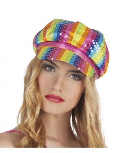 Mehrfarbige Pailletten Kappe für Erwachsene