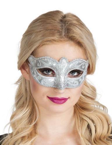 Venezianische Augenmaske in silbern für Erwachsene