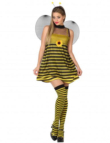 Sexy Bienen-Kostüm für Damen gelb-schwarz gestreift