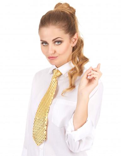 Goldene Krawatte mit Pailletten für Erwachsene-1