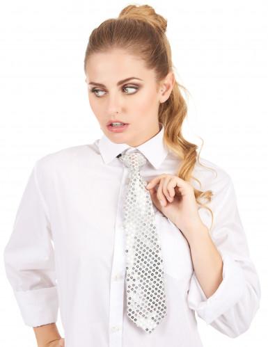 Silberne Pailletten Krawatte-1