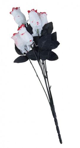 6 weiße blutbefleckte Rosen aus Stoff - Halloween
