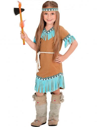 Indianerin-Kostüm braun und blau für Mädchen