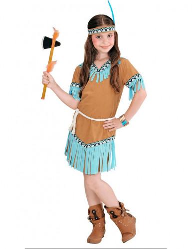 Indianerin-Kostüm braun und blau für Mädchen-1